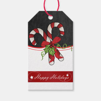 Happy Holiday Candy Cane Design Gift Tags