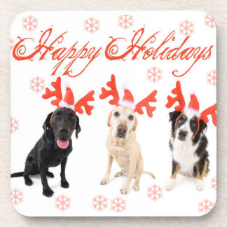 Happy Holiday Dogs Beverage Coasters