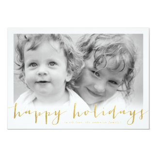 Happy Holiday Gold Foil Look Holiday Photocard Card