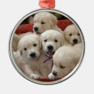 Happy Holiday Golden Retriever puppies Christmas Ornament