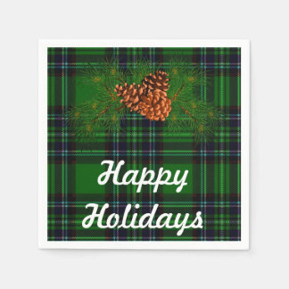 Happy Holiday - green tartan with pine-cone detail Paper Napkins