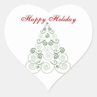 Happy Holiday, green tree of swirls Heart Sticker