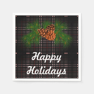 Happy Holiday - grey tartan with pine-cone detail Disposable Serviette