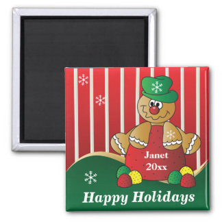 Happy Holiday Gumdrop Gingerbread Man Square Magnet