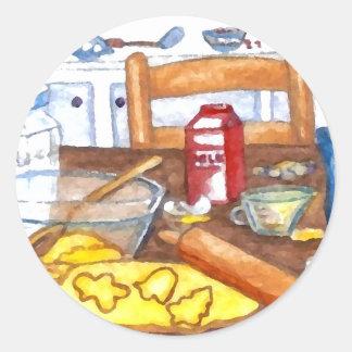 Happy Holiday Kitchen Home Cooking Baking Round Sticker