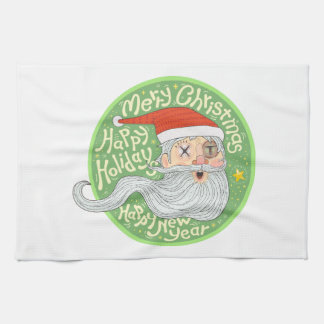 Happy Holiday Merry Christmas New Year Santa Claus Hand Towel