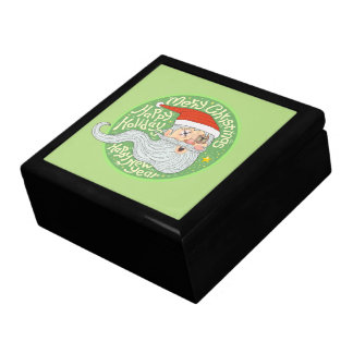 Happy Holiday Merry Christmas New Year Santa Claus Large Square Gift Box
