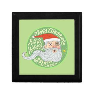 Happy Holiday Merry Christmas New Year Santa Claus Small Square Gift Box