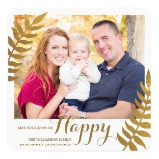 Happy / Holiday Photo Card / Gold Foil 13 Cm X 13 Cm Square Invitation Card