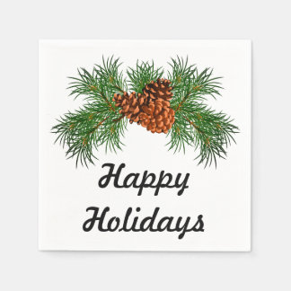 Happy Holiday - pine-cone detail Disposable Napkin
