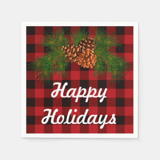 Happy Holiday - pine-cone detail Disposable Napkins