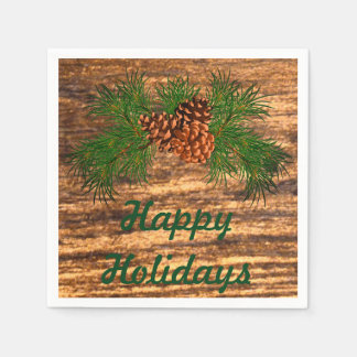 Happy Holiday - rustic pine-cone detail Disposable Napkin