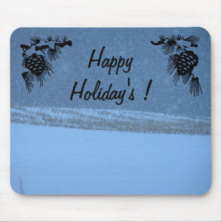 Happy Holiday s- White Out Snow Storm Mouse Mats