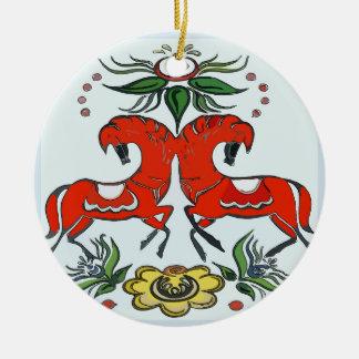 Happy Holiday, Scandinavia Horses Christmas Ornament