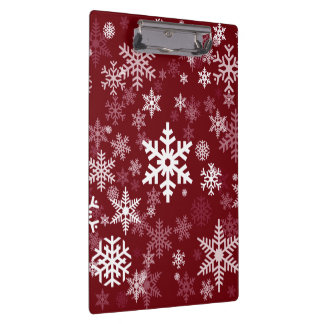 Happy Holiday Snowflakes Pattern Burgundy Clipboard