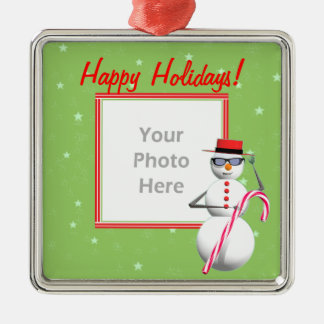 Happy Holiday Snowman (photo frame) Christmas Ornament