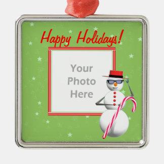 Happy Holiday Snowman (photo frame) Christmas Ornament
