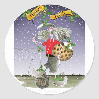 happy holiday soccer fans classic round sticker