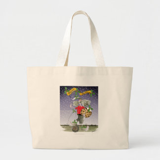 happy holiday soccer fans large tote bag