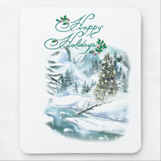 Happy Holiday Winter Painting Mouse Pad