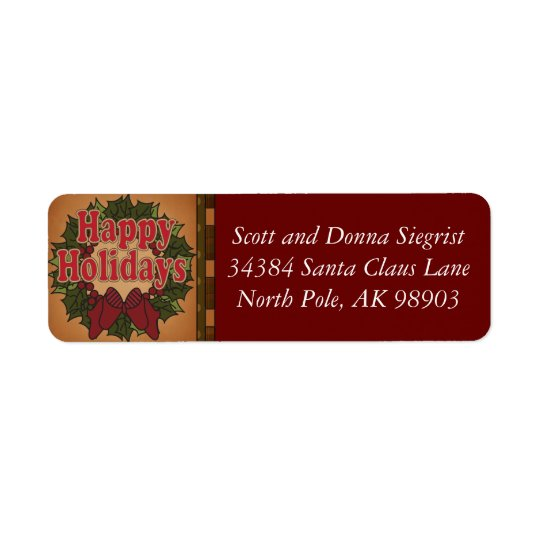 Happy Holiday Wreath Christmas Return Address Label