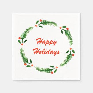 Happy Holiday Wreath Napkin Paper Serviettes