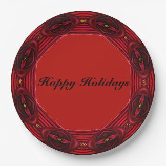 Happy Holiday Wreath Red Paper Plate