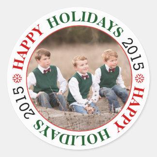 Happy Holidays 2015 red, green Christmas photo Round Sticker