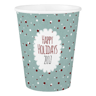 Happy Holidays 2017 Vintage Blue Red dotted Paper Cup