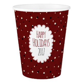 Happy Holidays 2017 Vintage Red dotted Paper Cup