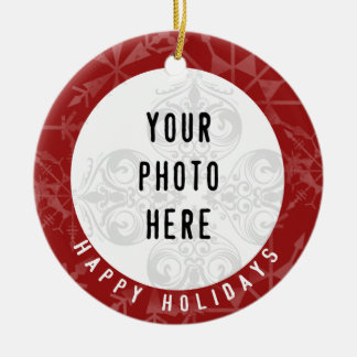 Happy Holidays 2 Photo Red Snowflake Christmas Ornament
