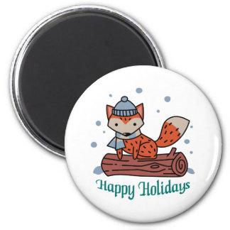 Happy Holidays 6 Cm Round Magnet