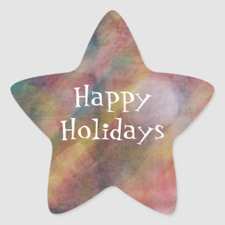 Happy Holidays Abstract Watercolor Painting Star Sticker