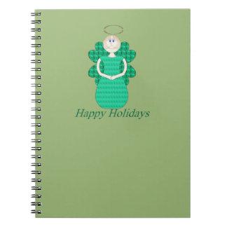 Happy Holidays Angel Spiral Notebook