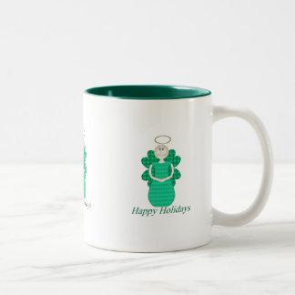 Happy Holidays Angel Two-Tone Coffee Mug