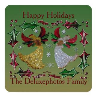 Happy Holidays Angels Holly 13 Cm X 13 Cm Square Invitation Card
