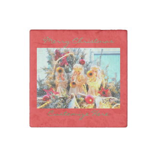 happy holidays angels trumpeting stone magnet