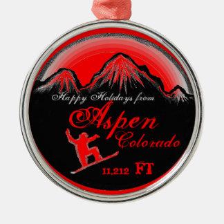 Happy Holidays Aspen Colorado snowboard ornament