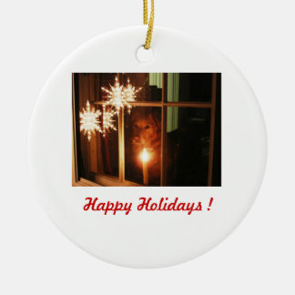 Happy Holidays ! - Audrey Round Ceramic Decoration