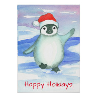 Happy Holidays Baby Penguin Poster