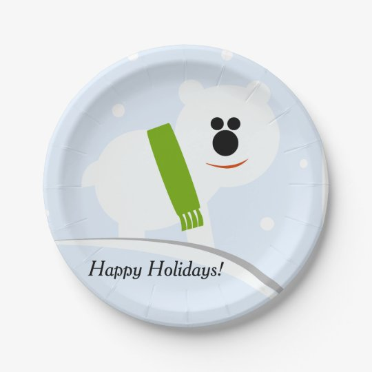 Happy Holidays Baby Polar Bear Paper Plates