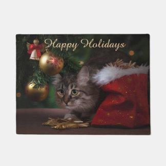 Happy Holidays Beautiful Cat Doormat