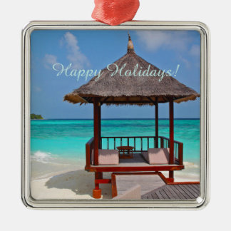 Happy Holidays Beautiful Maldives Islands Christmas Ornament