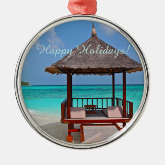 Happy Holidays Beautiful Maldives Islands Silver-Colored Round Decoration
