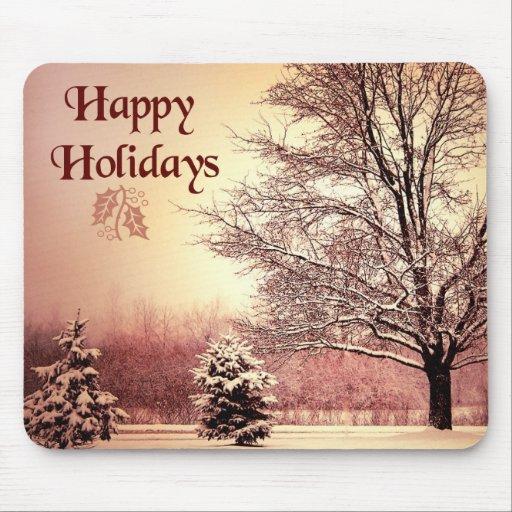 Happy Holidays beautiful winter landscape Mousepads
