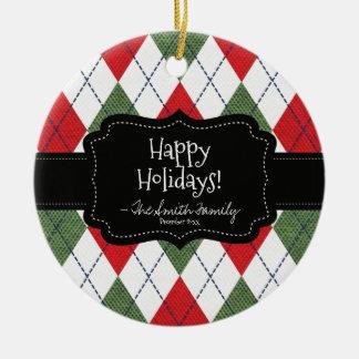 Happy Holidays. Black Badge & Argyle Pattern. Round Ceramic Decoration