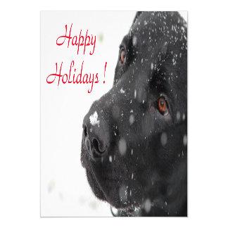 Happy Holidays Black Lab Magnetic Invitations