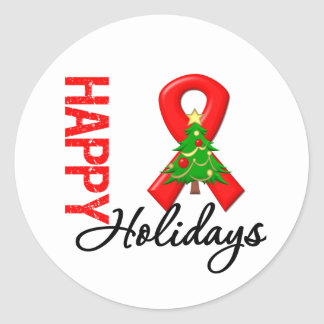 Happy Holidays Blood Cancer Awareness Round Stickers