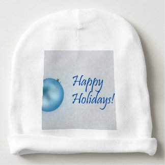 Happy Holidays Blue Christmas Ornament Baby Beanie