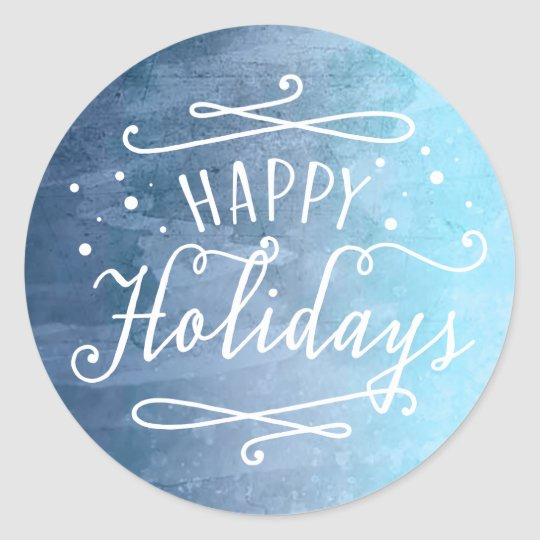Happy Holidays | Blue Favour Sticker